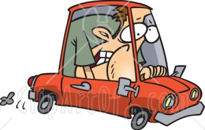5885-Caucasian-Man-Squished-Into-A-Tiny-Compact-Mini-Car-Clipart-Illustration
